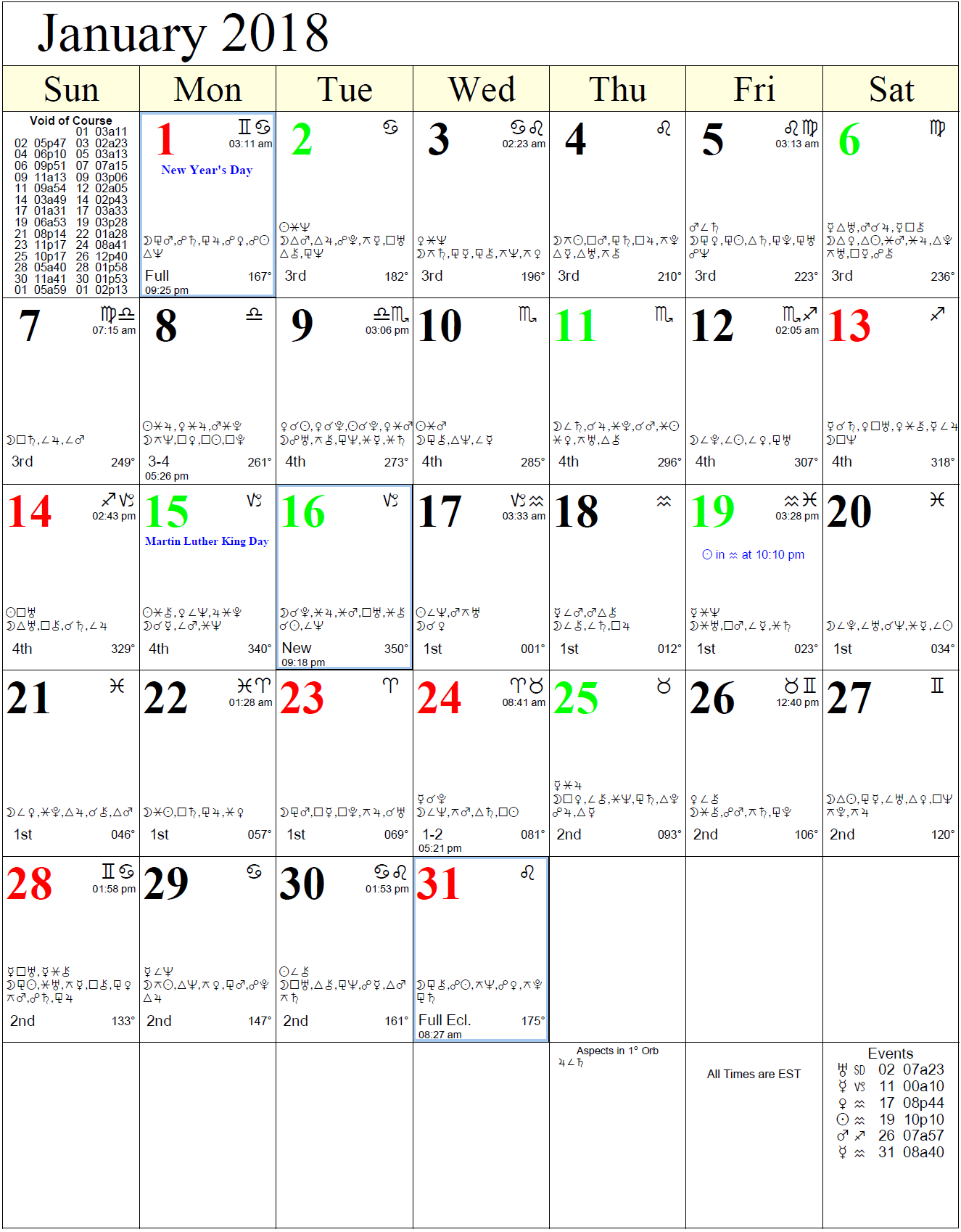 Monthly Astro Calendars | Cafe Astrology
