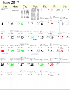 Astrology Calendar - August 2017
