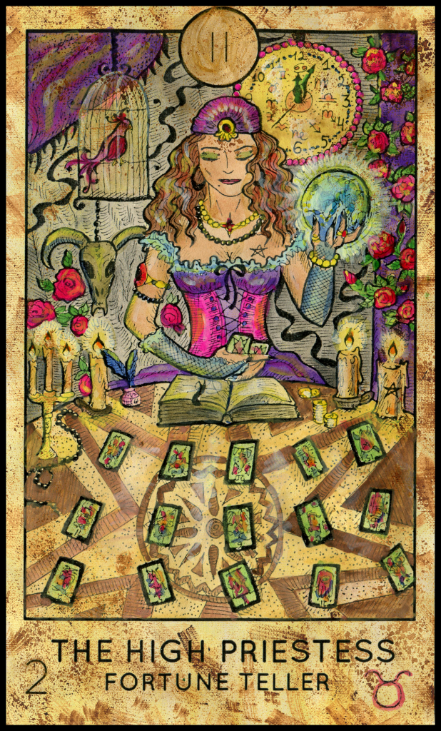 High Priestess Full Colorful Deck Major Stock Illustration: Tarot Oracle Answer: The High Priestess (Fantasy Deck