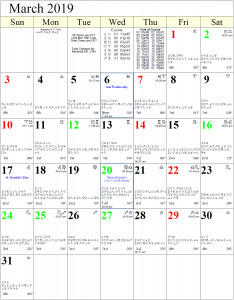 Monthly Astrology Calendar for March 2019