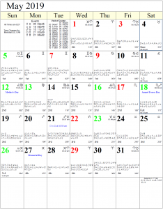 Monthly Astrology Calendar for May 2019