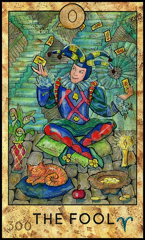 0 Major Arcana: The Fool Tarot Card Fantasy Deck