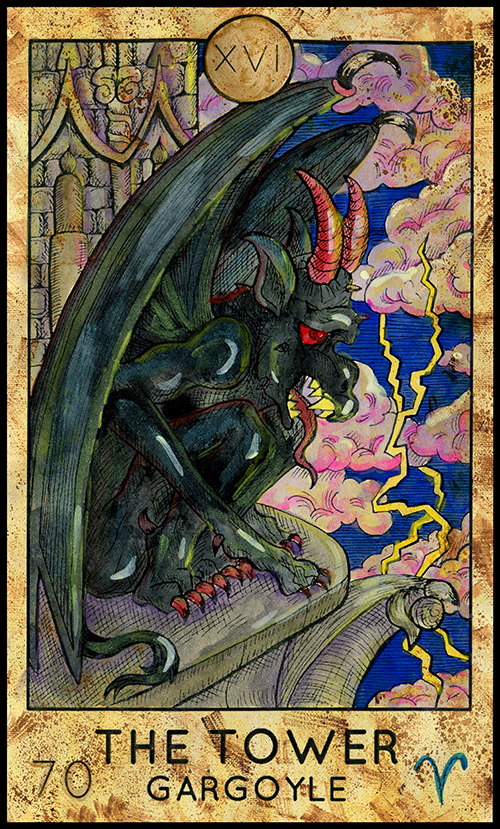 Major Arcana #16 - The Tower - Fantasy Tarot Card Deck