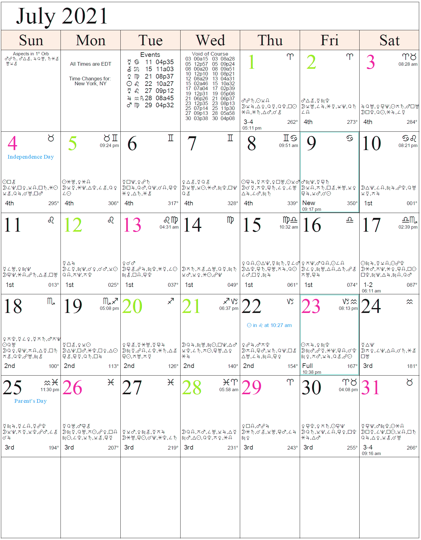 Astrological calendar with aspects for July 2021.